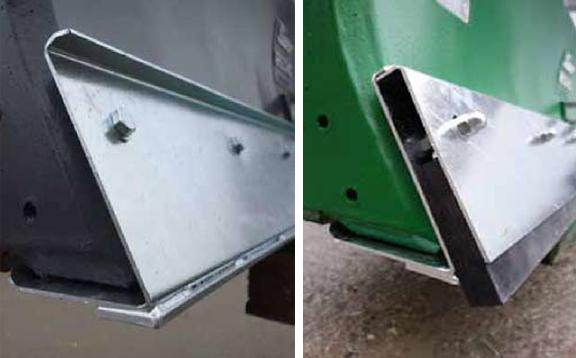 Zwei Stahlkanten für den unteren Abschluss des Ballastschiebers